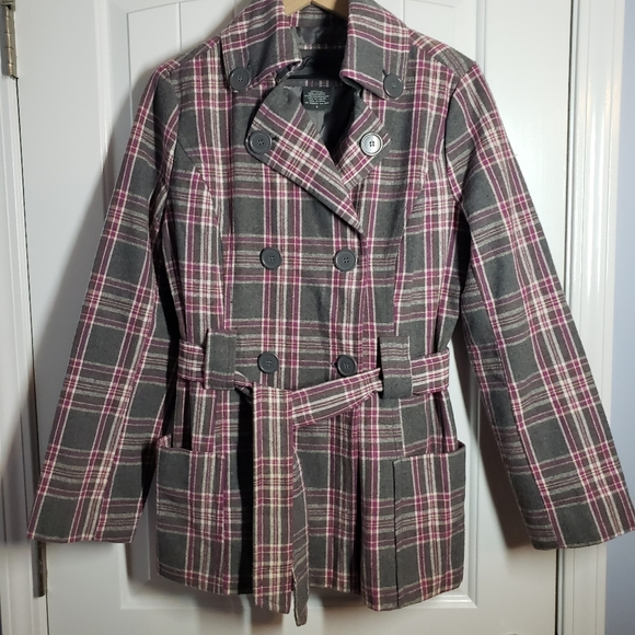 Jou Jou flannel peacoat purple plaid belted large
